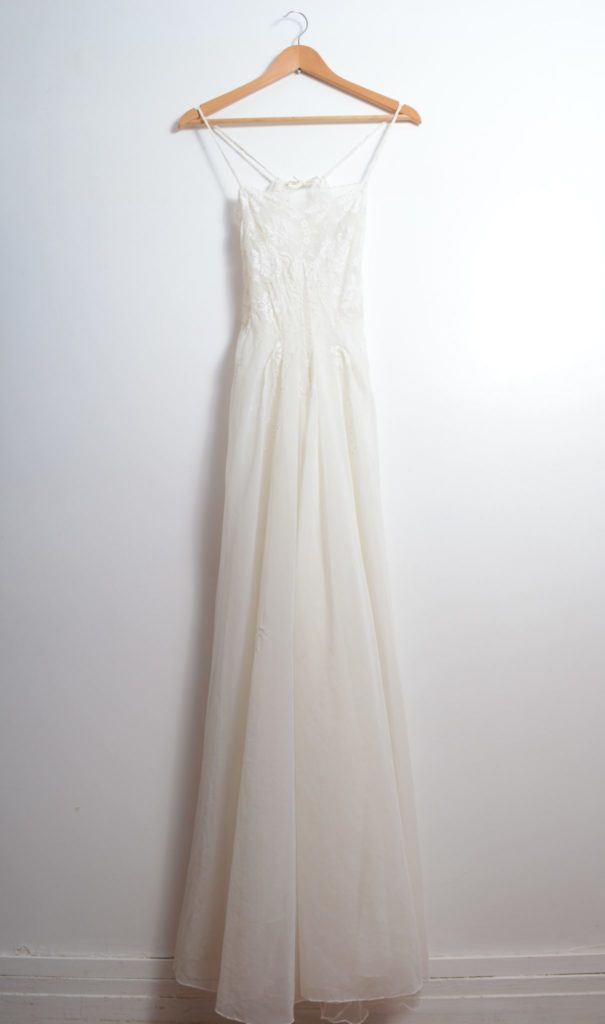 White Sheer Lace Embellished Vintage Dress
