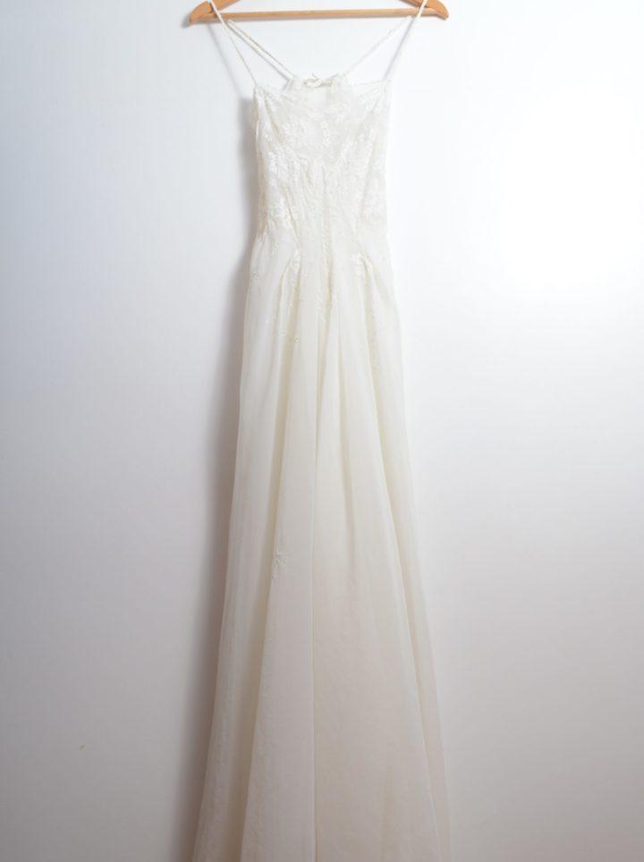 White Sheer Lace Embellished Vintage Dress