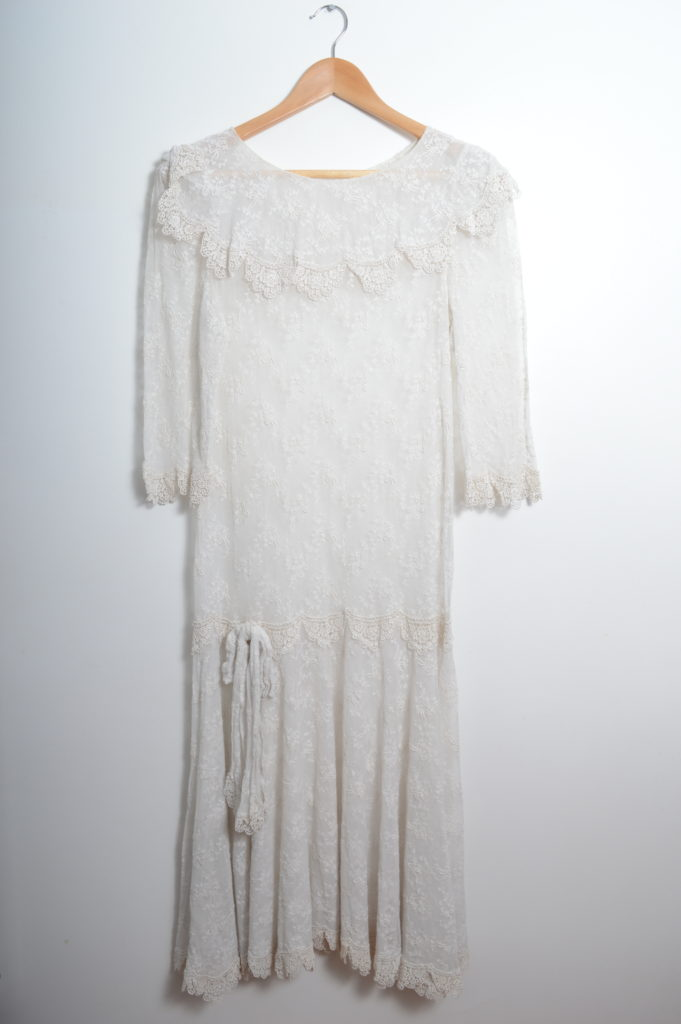 White Lace Transparent Vintage Dress front