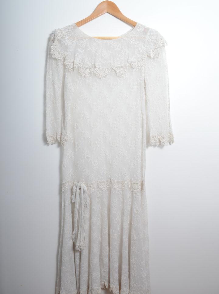 White Lace Transparent Vintage Dress front