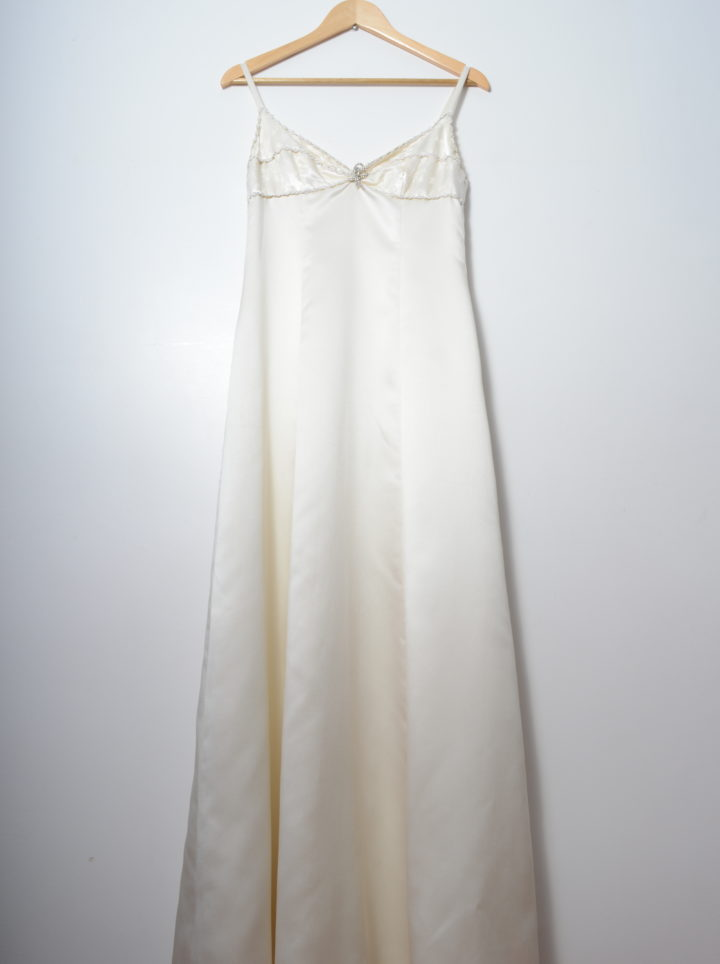 Elegant White Embellished Vintage 90s Dress