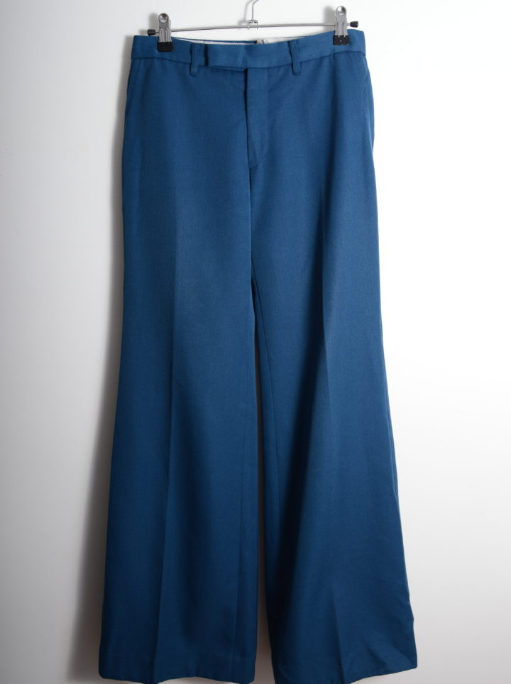Teal Blue 70s Pants
